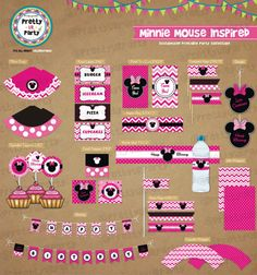 Minnie Mouse inspired Birthday Party Printable por PrettyUrParty, $12.00