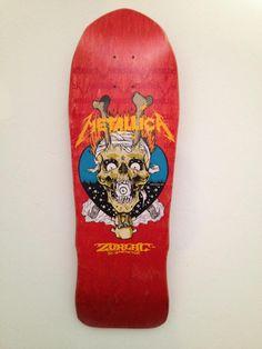 Red stain Mega Chopstix metallica zorlac skateboard deck (blue background)