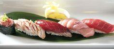 sushiko. hamachi crudo. butterfish tataki. chicken gyoza.  fatty tuna.