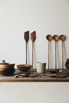 The beauty of handmade ceramics and wooden kitchen utensils.