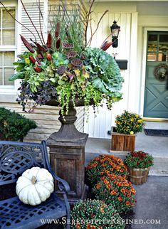 Outdoor urn planters fall front porch and fabulous planter container gardening garden urns christmas . Fall Containers, Succulent Containers, Succulents, Pot Jardin, Garden Urns, Garden Planters, Fall Planters, Metal Planters, Autumn Planter Ideas