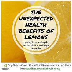The list of nourishing elements within a lemon is quite endless and includes vitamin C B6 A E copper calcium iron magnesium potassium zinc phosphorus and many more. Try adding some slices of lemon to your water to take advantage of what they have to offer.  Nature Cures by Nat Hawes available in paperback and ebook from http://ift.tt/2b1xQmr  #fruits #organic #food #healthy #instafood #homemade #aromatherapy #vegan #health #nutrition #wellbeing