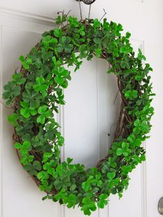 Clover Wreath for Front Door Greenery Wreath by MaineMadeWreaths
