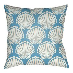 "Artistic Weavers Litchfield Shell Indoor/Outdoor Throw Pillow Size: 20"" H x 20"" W, Color: Aqua/Ivory"