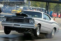 Found one that looks similar to mine, but in gray, mine was blue. That car could put on a smoke show to make the boys envious. Dodge Muscle Cars, Best Muscle Cars, American Muscle Cars, Plymouth Duster, Plymouth Cars, Classic Car Restoration, Drag Bike, Drag Cars, Drag Racing
