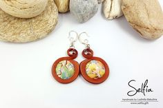 "Round Handmade Earrings ""Palette of Nature"" 2 - made from Polymer Clay! by SweetyBijou on Etsy"