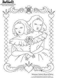 Siamese Sisters Rose and Daisy  Embroidery Pattern by badbird, $10.00