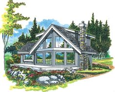 A-Frame House Plan with 1498 Square Feet and 3 Bedrooms from Dream Home Source | House Plan Code DHSW04032