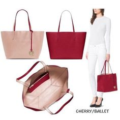 ad847e9249a3 MICHAEL KORS IZZY LARGE REVERSIBLE RED PINK TOTE MICHAEL KORS IZZY LARGE  REVERSIBLE CHERRY BALLET RED