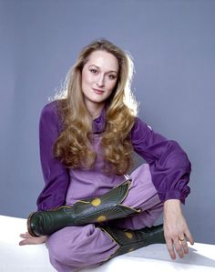 Just look at her in this purple-on-purple-on-cowboy boots ensemble. | Vintage Meryl Streep Is The Best Meryl Streep