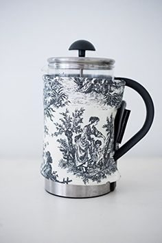 French Press Coffee Cover -8-cup, Black and  White Toile ^^ Stop everything and read more details here! : French Presses