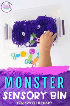 Make this monster sensory bin to use in your speech therapy sessions. You can target functional communication such as turn taking, requesting, and commenting using this sensory bin. Need some reinforcers for mixed groups? This googly-eyed sensory bin can be used as a minute to win it game! Check it out. #slpeeps #schoolslp #speechies #slp2b #sensoryplay #sensorybin #slpsensorybin #preschool #kindergarten #preschoolslp #speechtherapy #speechtx #speechtherapist #diyspeechtherapy #halloween