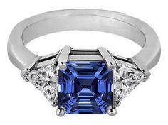 Asscher Blue Sapphire & Trillion Diamond Liz Hurley Engagement Ringi - ES330ACBS