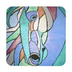 Metallic Horse in Blue Coaster Set  Set of 6.