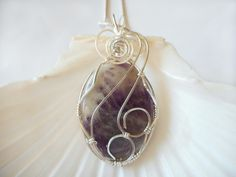 Wire Wrapped Gemstone Pendant Necklace, Amethyst Jewelry by elainesgems, $32.00 USD