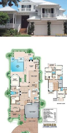 Beach House Plan: West Indies Waterfront Style Home Floor Plan Beach House Floor Plans, West Indies Style, House Blueprints, Waterfront Homes, Lake Homes, House Design, Flooring, How To Plan, Design Ideas