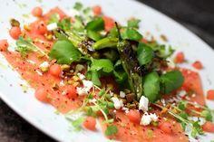 Watermelon Carpaccio ~ Blistered Shishito, Mitsuba, Tiny Watermelon Balls, Pistachio, Feta, Lime Vinaigrette #summerfest