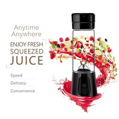 Portable Juicer with Travel Sport Bottle Electric Fruit Blender Cup  USB Charger Fruit Mixing Machine Mini Fruit Juice Extractor Electric Rechargeable Mixer Cup with Cable Black * Click on the image for additional details.(It is Amazon affiliate link) #HomeAppliancesCollection
