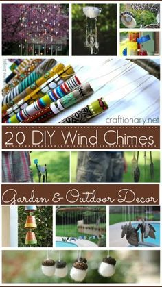 Easy Projects, Craft Projects, Make Wind Chimes, Outdoor Crafts, Outdoor Decor, Garden Crafts, Garden Projects, Yard Art, Holidays And Events