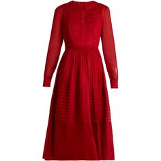 Valentino Long-sleeved pleated cotton-organza dress (120 105 UAH) ❤ liked on Polyvore featuring dresses, cotton dresses, red long sleeve dress, cotton slip, slip dress and full pleated skirt