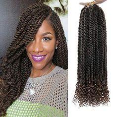 20Inch Senegalese Twist Crochet Hair Braids Wavy Ends Synthetic Hair Extension Kanekalon Crochet Small Mambo Twist Br... Curly Crochet Hair Styles, Crochet Braid Styles, Crochet Twist, Kids Braided Hairstyles, Scarf Hairstyles, Beach Hairstyles, African Hairstyles, Hairstyle Ideas, Hair Ideas