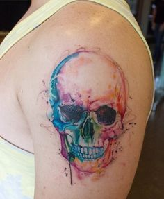 Amazing Watercolor Tattoos ( 32 Pics ) | Tattoos Mob ---- dont want a skull but the colors are amazing---
