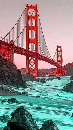 Pop Art Wallpaper, Ocean Wallpaper, Golden Gate Bridge Painting, Golden Gate Bridge Wallpaper, San Francisco Bridge, Bridge Drawing, Japon Illustration, Art Anime, Art Graphique