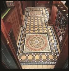 Victorian Floor Tiles Hand Decorated Floor Tiles Palmerston Blue Set 916 x Each tile 151 x 151 used as a Centrepiece , framed by Trapeziums, within Inverlochy pattern and bespoke border Victorian Tiles, Victorian Kitchen, Victorian Interiors, Victorian Decor, Victorian House, Victorian Era, Conservatory Flooring, Porch Tile, Tile Warehouse