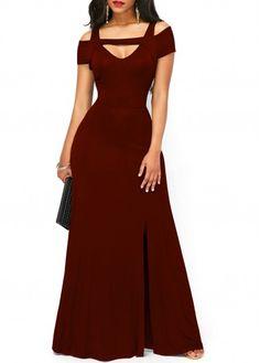 Cold Shoulder Front Slit Wine Red Maxi Dress | liligal.com - USD $31.58