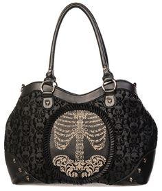 Banned // Banned Flocked Ribcage Cameo Handbag