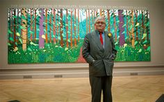 David Hockney with 'The Arrival Of Spring'. The artist left California to devote himself to capturing the landscapes of East Yorkshire
