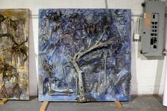 """Thornton Dial, """"The Freedom Side"""" (2012), wood, metal, clothing, springs, string, wire, plastic, and enamel on canvas on wood, 72 x 72 inches; third panel in a triptych consisting of """"Weeping Tree,"""" """"After the Burn"""" and """"The Freedom Side"""" (photo by the author for Hyperallergic) (click to enlarge)"""