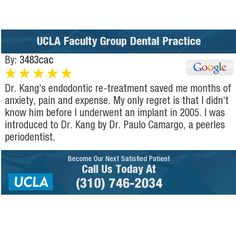 Dr. Kang's endodontic re-treatment saved me months of anxiety, pain and expense. My only...