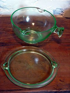 This is an antique depression glass mixing, or batter, bowl with lid and handle that is as gorgeous as it is functional. The pale, almost ghostly green color of the glass is accented by the simple pattern on the lid, the knob style handle and the two Cool pic, found it and thought of sharing it! I simply love everything about fitness ♥