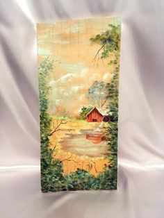 Birchwood Painting Country Mill Scene Oil Painting Hand