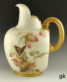 Lovely Antique Royal Worcester Pitcher Gilded Hand Painted Floral c 1891