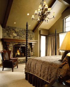 Stone fireplace in the bedroom