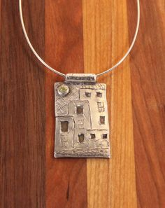 Recycled Fine Silver Studio Skyline Pendant Necklace by coraljoy, $110.00 I Love this!