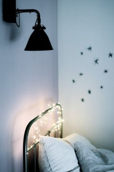 ❥ For a little girl's room. Add more color... but I love the vintage bed and glitter fairy lights.