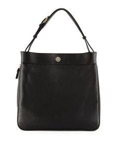 Robinson Pebbled Hobo Bag, Black, Women's - Tory Burch