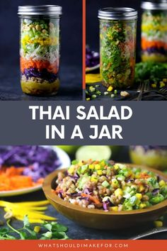 Learn how to make an easy, healthy salad in a jar perfect for weekday lunches for kids or grown ups. Make lunch for a week, perfect for the keto diet! #whatshouldimakefor #saladinajar #thaisalad #saladrecipes #thairecipes #lunchrecipes