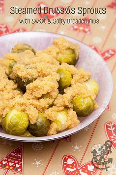 Polish Style Steamed Brussels Sprouts with Sweet & Salty Breadcrumbs
