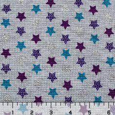 Silver Stars on Gray Cotton Thermal Knit Fabric