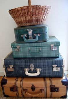 stacked suitcases love