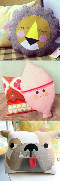 Tante Tin funky cute vintage kitsch retro plushie pillow and cushion designs , lion, leaf and dog: