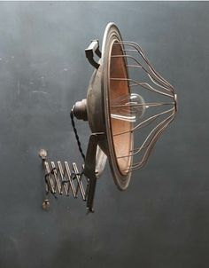 c.1920s. Vintage Industrial Accordion Wall Mounting Lamp