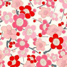 Papier Japonais / Sérigraphie fleurs rouges et roses sur fond blanc - Adeline Klam