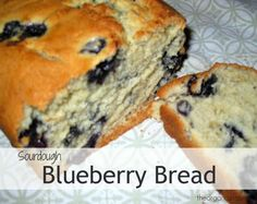 Recipe for a blueberry quick bread made with sourdough starter. This sourdough blueberry bread is made with half whole wheat/half all purpose flour.