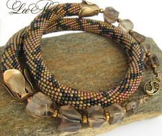 Bead Crochet Necklace Python  Khaki  indigo bronze   by LeeMarina, $98.00