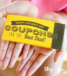 A useful gift for Dad that he will be able enjoy all year long! Free printable Father's Day coupons just for Dad. Easy to make Father's Day coupon book.